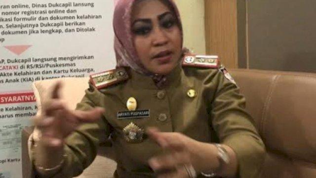 Kepala Disdukcapil Kota Makassar, Aryati Puspasari Abady. (Ist)