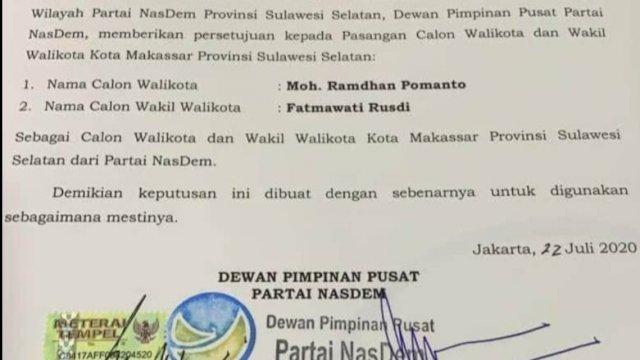 Susul Gerindra, NasDem Terbitkan Rekomendasi B.1.KWK untuk Paslon 'ADAMA'
