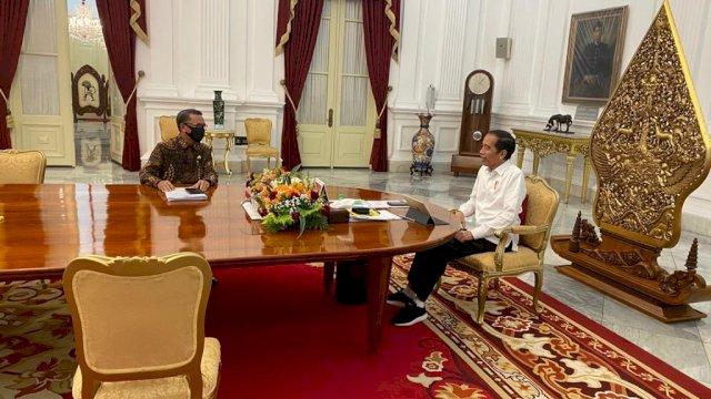 Presiden Joko Widodo dan Gubernur Sulsel Nurdin Abdullah.
