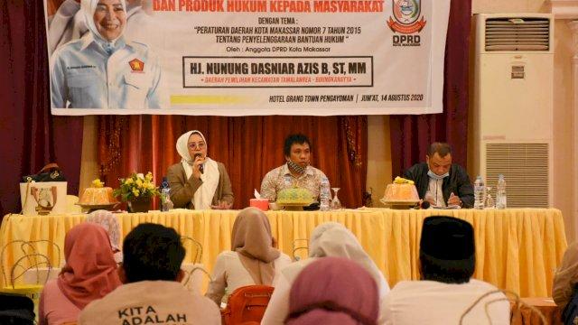 Anggota DPRD Makassar, Nunung Dasniar mengadakan Sosialisasi Peraturan Daerah (Perda) Kota Makassar nomor 7 tahun 2015 tentang Bantuan Hukum, di Hotel Grand Town, Jl Pengayoman, Jumat (14/8/2020).