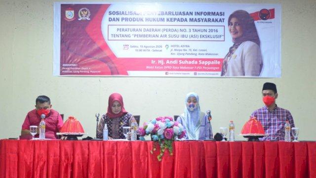 Wakil Ketua DPRD Makassar, Andi Suhada Sappaile Sosialisasikan Perda ASI Eksklusif, di Hotel Asyra, Jl Maipa, Sabtu (15/8/2020).