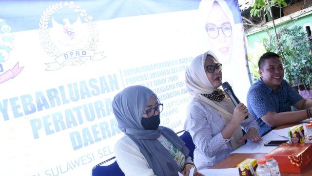 Anggota DPRD Sulsel, Andi Rachmatika Dewi sosialisasikan Perda tentang kerjasama Penyelenggaraan Pelayanan Kesehatan Gratis di Kecamatan Tallo, Minggu (6/9/2020).