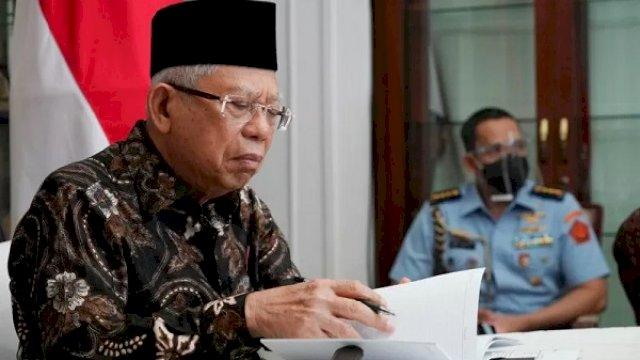 Wakil Presiden Ma'ruf Amin memberikan arahan dalam pertemuan virtual dengan pimpinan Komisi Aparatur Sipil Negara (KASN) dari rumah dinas wapres di Jakarta, Selasa (15/9/2020). (Asdep KIP Setwapres)