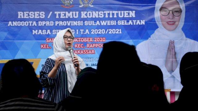 Anggota DPRD Sulsel, Andi Rachmatika Dewi (Cicu) serap aspirasi warga Kelurahan Tidung, Sabtu (31/10/2020).