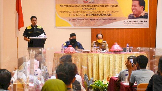 Wakil Ketua DPRD Makassar, Andi Nurhaldin sosialisasikan Perda Kepemudaan, di Hotel Continent, Selasa (10/11/2020).