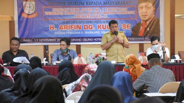 Anggota DPRD Makassar, Arifin Dg Kulle Sosialisasi Perda Pengelolaan Air Limbah Domestik, Rabu (11/11/2020).