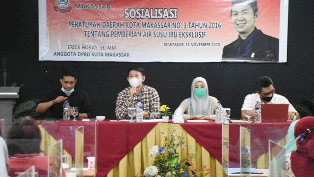 Anggota DPRD Makassar, Erick Horas sosialisasi Perda Pemberian ASI Eksklusif, di Hotel Lynt, Rabu (11/11/2020).