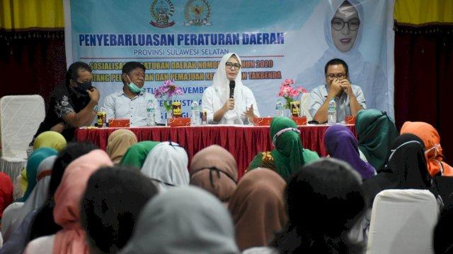 Anggota DPRD Sulsel, Andi Rachmatika Dewi sosialisasikan Perda 3/2020 tentang Pelestarian dan Pemajuan Kebudayaan Takbenda, di Hotel Mustika Sari Makassar, Sabtu (14/11/2020).