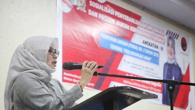 Wakil Ketua DPRD Makassar, Andi Suhada Sappaile sosialisasikan Perda Perlindungan Anak, di Hotel Asyra, Sabtu (14/11/2020).
