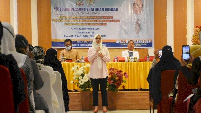 Anggota DPRD Sulsel, Andi Rachmatika Dewi sosialisasikan Perda Perubahan bentuk Humkum Perusda menjadi Perseroda, Sabtu (14/11/2020).