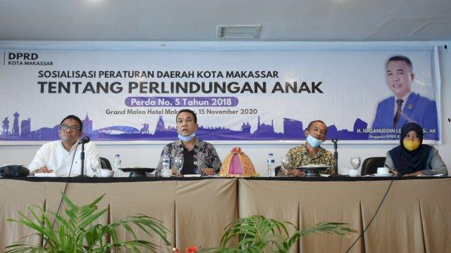 Anggota DPRD Makassar, Hasanuddin Leo sosialisasikan Perda Perlindungan Anak, di Hotel D'Maleo, Minggu (15/11/2020).