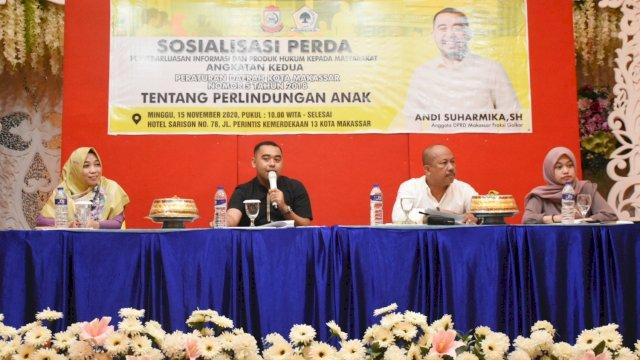 Anggota DPRD Makassar, Andi Suharmika sosialisasikan Perda Perlindungan Anak, di Hotel Sorison, Minggu (15/11/2020).