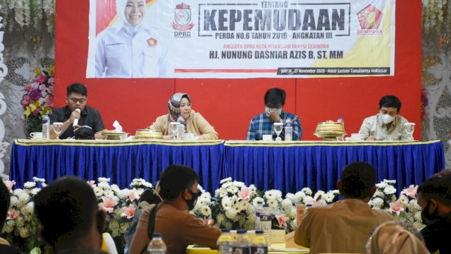 Anggota DPRD Makassar, Nunung Dasniar sosialisasikan Perda Tentang Kepemudaan, di Hotel Sarison, Jumat (27/11/2020).