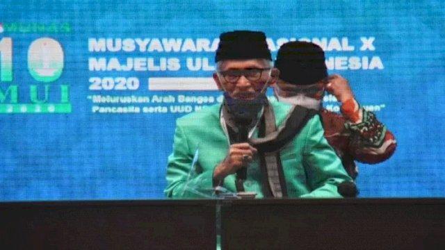 KH Miftachul Akhyar yang hadir pada Musyawarah Nasional Majelis Ulama Indonesia di Jakarta, pada 25-27 November 2020 kini menjadi ketua umum MUI periode 2020-2025 mengganti KH Ma'ruf Amin. (Majelis Ulama Indonesia)