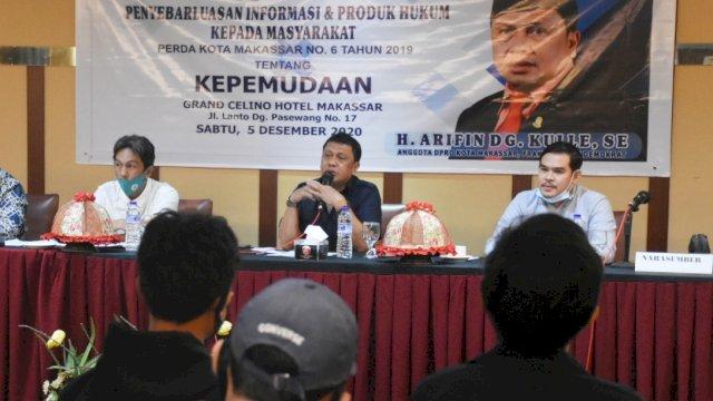 Anggota DPRD Makassar, Arifin Dg Kulle sosialisasikan Perda Kepemudaan, di Hotel Grand Celino, Sabtu (5/12/2020).