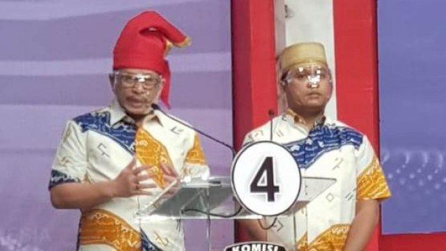 Pasangan Irman Yasin Limpo-Andi Zunnun Armin (Irman-Zunnun) mengikuti acara Debat Publik Pilwali Makassar ketiga, di Jakarta, Jumat (4/12/2020).