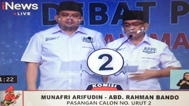 Pasangan Munafri Arifuddin-Abd Rahman Bando (Appi-Rahman) menjelaskan alasan wisma isolasi mandiri tidak beroperasi, saat debat publik, di Jakarta, Jumat (4/12/2020).