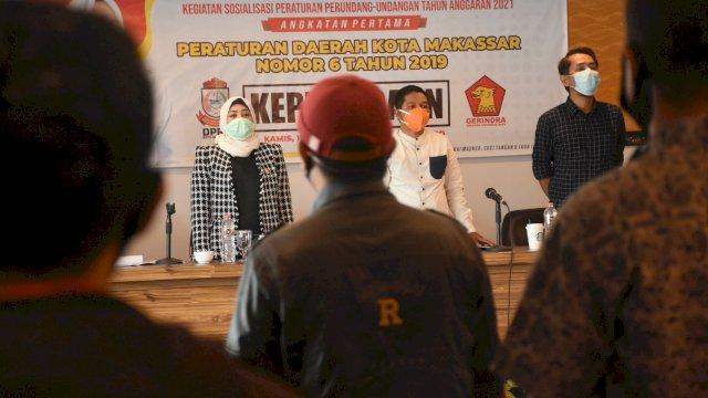 Anggota DPRD Makassar, Nunung Dasniar sosialisasikan Perda Kepemudaan, di Hotel D'Maleo, Kamis (11/2/2021).