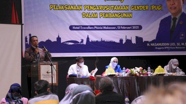 Anggota DPRD Makassar, Hasanuddin Leo sosialisasikan Pengarusutamaan Gender dalam Pembangunan, di Travelers Hotel, Jl Lamadukelleng Buntu, Sabtu (13/2/2021).