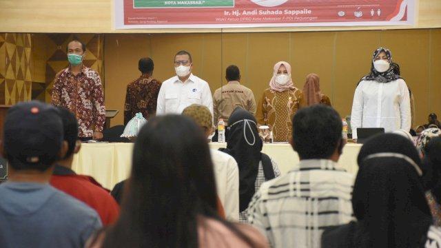 Wakil Ketua DPRD Makassar, Andi Suhada Sappaile sosialisikan Perda Perusahaan Air Minum, di Pesona Hotel, Jl Mappanyukki, Rabu (24/2/2021).