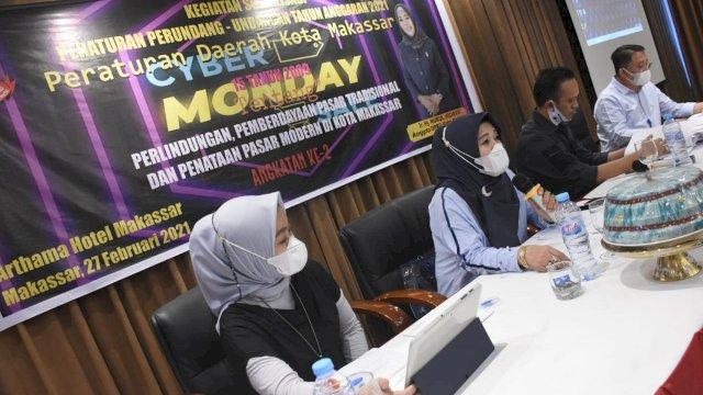 Anggota DPRD Makassar, Nurul Hidayat sosialisasikan Perda Perlindungan,Pemberdayaan Pasar Tradisional dan Penataan Pasar Modern Kota Makassar, di Hotel Arthama, Sabtu (27/2/2021).