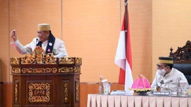 Bupati Bulukumba, Sukri Sappewali saat memberikan sambutan di acara HUT Kabupaten Bulukumba ke-61, Kamis (4/2/2021).