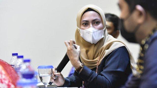 Bupati Luwu Utara, Indah Putri Indriani, saat menjadi narasumber Forum Dialog Publik MASIKA ICMI Sulsel di Makassar, Sabtu (13/3/2021).