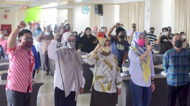 Wakil Ketua DPRD Makassar, Andi Suhada Sappaile sosialisasikan Perda Kepemudaan, di Condotel Hotel, Rabu (24/3/2021).