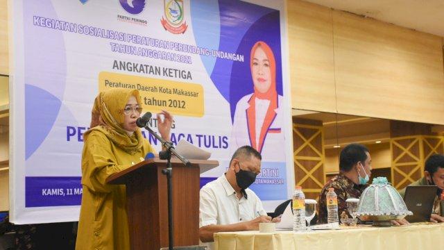 Anggota DPRD Makassar, Hj Kartini Sosialisasikan Perda Baca Tulil Al Quran, di Hotel Pesona, Kamis (11/3/2021).