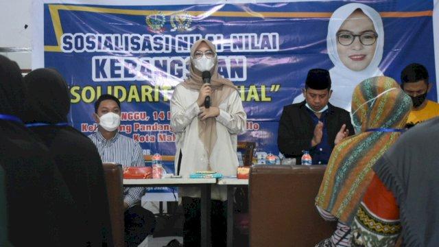 Anggota DPRD Sulsel, Andi Rachmatika Dewi sosialisasi Nilai-Nilai Kebangsaan, Jl Gatot Subroto, Kecamatan Tallo, Minggu (14/3/2021).