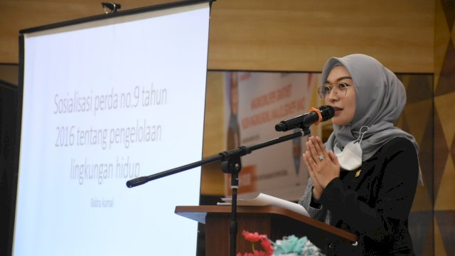 Anggota DPRD Makassar, Budi Hastuti Sosialisasikan Perda Perlindungan dan Pengelolaan Lingkungan Hidup, di Hotel Pessona, Jumat (26/3/2021).