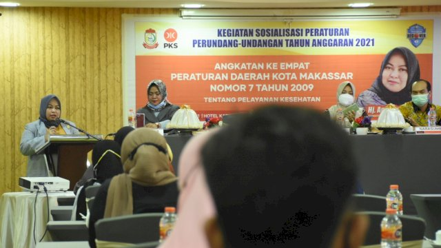 Anggota DPRD Makassar, Andi Astiah sodialisasikan Perda Pelayanan Kesehatan, di Hotel Condotel Premier, Minggu (28/3/2021).