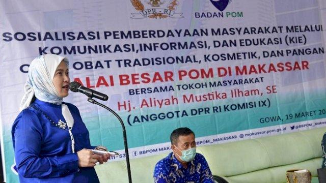 Anggota Komisi IX DPR RI Aliyah Mustika Ilham bersama mitra dari BBPOM menggelar sosialisasi pemberdayaan masyarakat melalui komunikasi, informasi dan edukasi terkait obat, kosmetik, dan pangan, Jumat (19/03/2021).