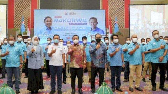Rakorwil Partai Gelora Sulsel di Hotel Claro Makassar, Minggu (7/3/2021). (int)