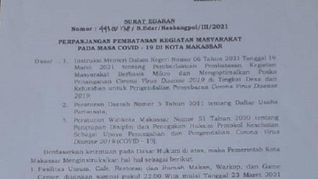 PPKM di Makassar Diperpanjang hingga 5 April, Ini 5 Kebijakan Pemkot