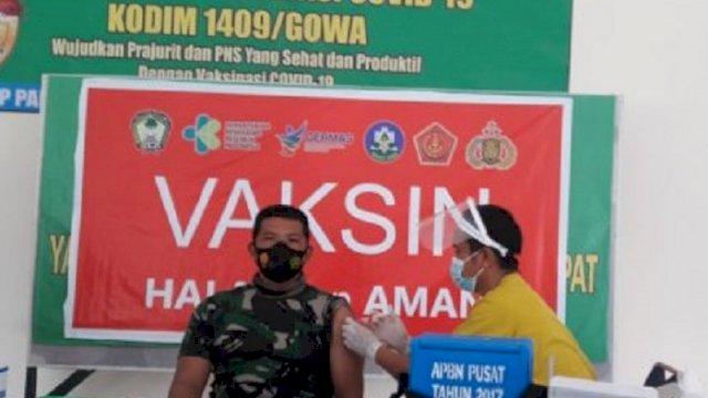 Ratusan TNI dan ASN Kodim Gowa Jalani Vaksinasi Covid-19