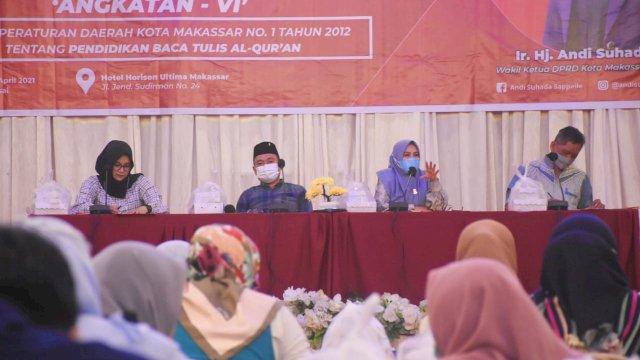 Wakil Ketua DPRD Makassar, Andi Suhada Sappaile sosialisasi Perda Baca Tulis Al-Quran, di Hotel Horison, Minggi (25/4/2021).