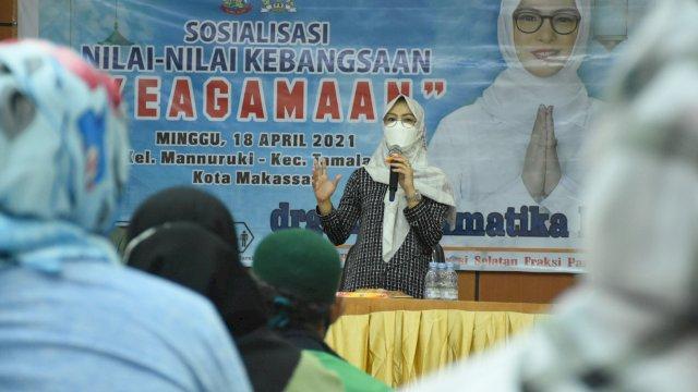 Anggota DPRD Sulsel, Andi Rachmatika Dewi sosialisasikan Nilai-nilai Kebangsaan tentang Keagamaan, di Gedung Diklat BKPSDM Provinsi Sulsel, Sabtu (18/4/2021).