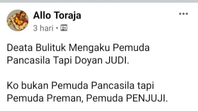 """Ciutan Akun Allo Toraja yang menghina Ormas Pemuda Pancasila sebagai Pemuda """"Preman dan Penjudi"""""""