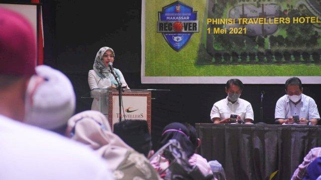 Anggota DPRD Makassar, Budi Hastuti sosialisasikan Perda Rencana Tata Ruang Wilayah (RTRW) di Hotel Phinisi Travelers, Jl Lamadukelleng Buntu, Sabtu (1/5/2021).