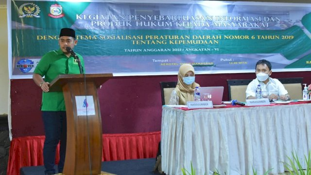 Anggota DPRD Makassar, Rachmat Taqwa Quraisy sosialisasikan Perda Kepemudaan, di Hotel Aerotel Smile, Jalan Somba Opu, Sabtu (1/5/2021).