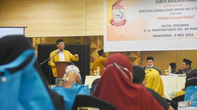 Anggota DPRD Makassar, Wahab Tahir sosialisasikan Perda Zakat, di Hotel Pessona, Jalan Andi Mappanyukki, Selasa (4/5/2021).
