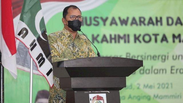 """Wali Kota Makassar Moh Ramdhan """"Danny"""" Pomanto saat menghadiri Musyawarah Daerah (Musda) II Majelis Daerah KAHMI Kota Makassar, Minggu (2/5/2021)."""