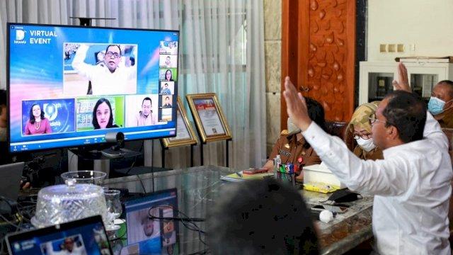 """Walikota Makassar Moh Ramdhan """"Danny"""" Pomanto saat menjadi pembicara pada acara pulang kampung digital yang diadakan detik network secara virtual, Selasa (4/5/2021)."""