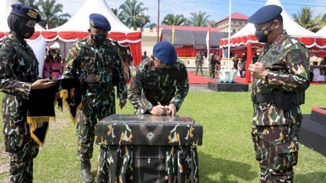 Peresmian Batalyon D Pelopor Sat Brimob Polda Sulsel yang dipimpin Kapolda Irjen Pol Merdisyam, di Baebunta, Kamis (10/6/2021).