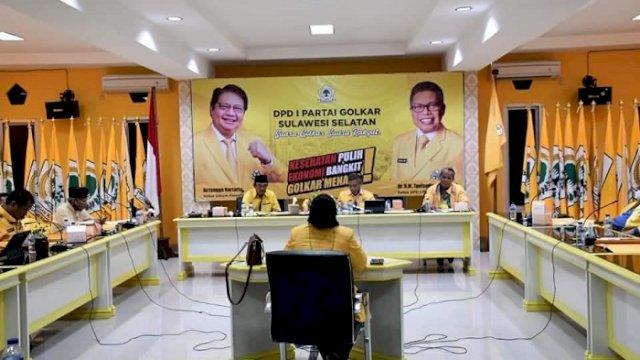 Suasana saat berlangsungnya uji kelayakan balon ketua Golkar yang digelar oleh DPD I Golkar Sulsel, Jumat (4/6/2021).
