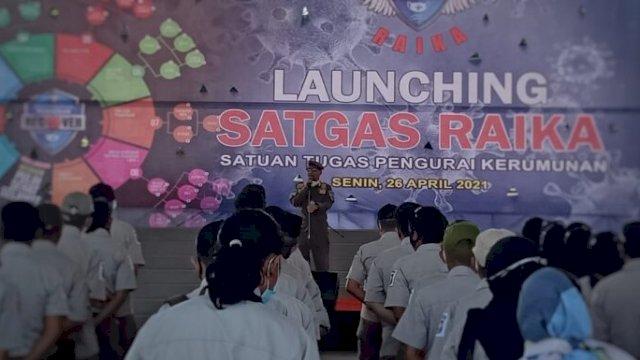 Launching Satuan Tugas Pengurai Kerumunan (Satgas Raika) pada Senin, 26 April 2021. Satgas ini beroperasi menegakkan protokol kesehatan, termasuk menertibkan tempat usaha yang melanggar jam operasional dan menimbulkan kerumunan. (int)