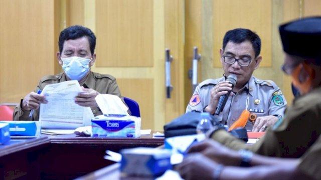 Rapat koordinasi pembangunan hunian tetap bagi penyintas banjir bandang di Lutra, di Ruang Rapat Sekda, Selasa (8/6/2021).