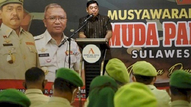 Sekprov Sulsel Abdul Hayat Gani, menghadiri Musda Pemuda Panca Marga (PPM) Sulsel IX, di Grand Asia Hotel, Sabtu (26/6/2021).