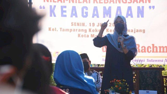 Ketua DPRD Sulsel, Andi Rachmatika Dewi sosialisasikan Nilai-nilai Kebangsaan tentang Keagamaan, di Jl Pangasseng, Senin (19/7/2021).